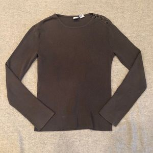 Armani Exchange Sweater with Lace Up Accent